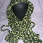 Forest Hoodie Hat (Adult) front and scarf