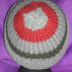 Toddler gray hat with green and red stripes