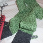 Green and Grey scarf in progress 1