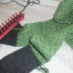 Green and Grey scarf in progress.