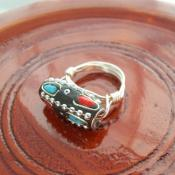 Silver Encrusted Bead Ring