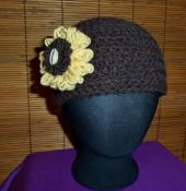 Cozy Spring Flower Hat - Brown
